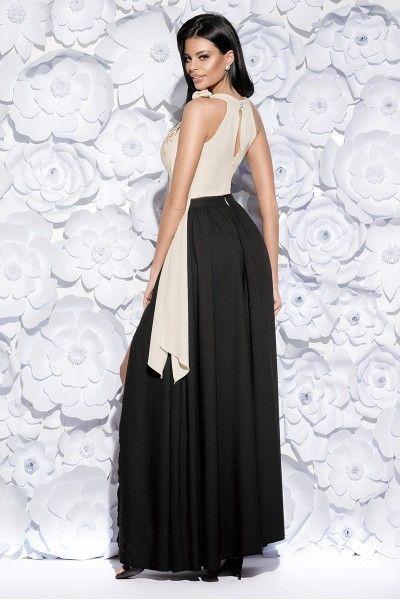 9caeaf2d6b Długa suknia z koronką -dwukolorowa - czarna Rozmiar - XS • Arena.pl