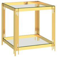 Stolik kawowy, złoty, 55x55x55 cm, stal nierdzewna i szkło