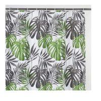 Zasłona zasłonka prysznicowa 180 X 180 cm Peva wz. 12 monstera zielone szare liście