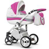 Biało - Różowy Evado Eco Wiejar nowoczesny wózek dziecięcy wielofunkcyjny 3w1