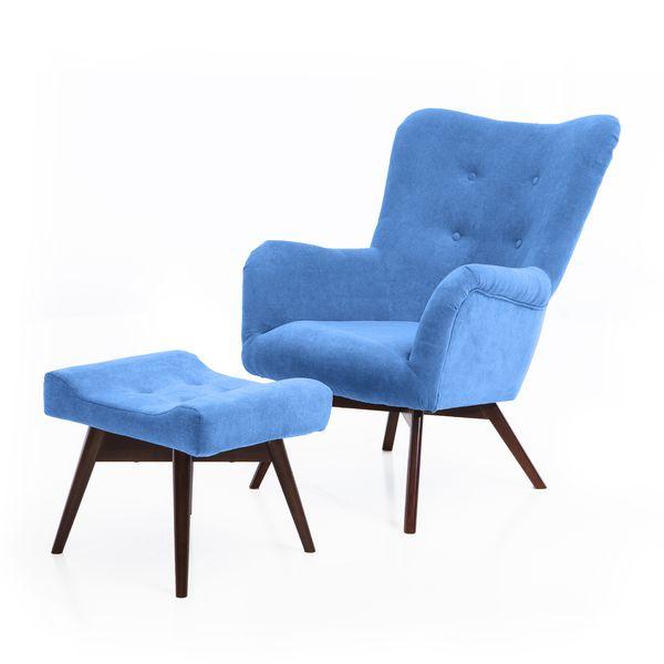 Fotel uszak mały styl skandynawski podnóżek gratis zdjęcie 11