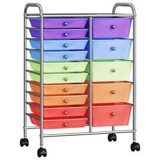 Wózek XXL z 15 szufladami kolorowy plastikowy VidaXL