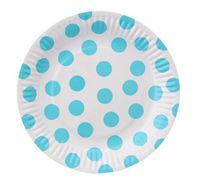 Talerzyki w GROCHY kropki błękitne, 18 cm, 6 szt
