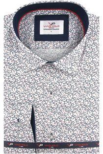Koszula Męska Viadi Polo biała we wzorki z długim rękawem w kroju SLIM FIT A478 L 41 176/182