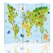 Parawan pokojowy, Mapa świata dla dzieci 180x180