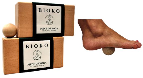 Klocek do jogi kostka do jogi drewniana bukowa 2 sztuki + gratis kulka