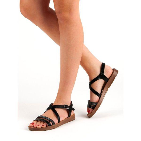 Czarne Sandały Z Kryształkami r.38 zdjęcie 2
