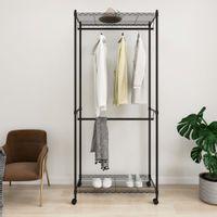 2-poziomowy wieszak na ubrania, z kółkami, 90x45x198 cm, 100 kg