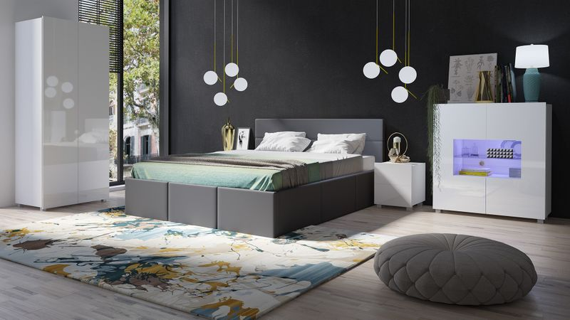 Sypialnia Calabrini 19e Czarne łóżko Calabrini A Biały Mat Biały Połysk Calabrini łóżko Grafit Ekoskóra