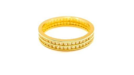 Złoty Pierścionek Podwójny Rząd Cyrkonii r19
