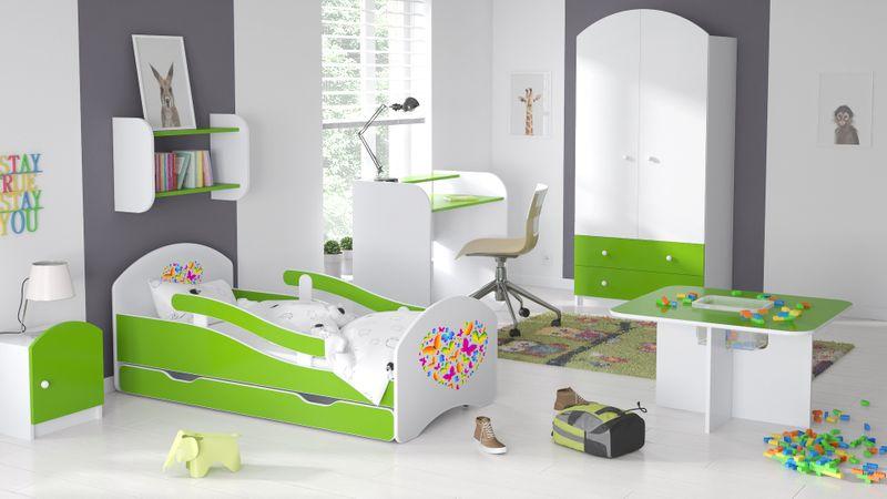 Łóżko dziecięce 140x70 biało-zielone/limonkowe materac gratis zdjęcie 14