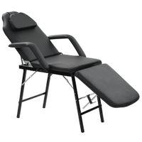 Przenośny fotel kosmetyczny, ekoskóra, 185 x 78 x 76 cm, czarny