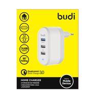 Budi - Ładowarka sieciowa 3x USB, 30W, składana wtyczka, QC3.0 (Biały)
