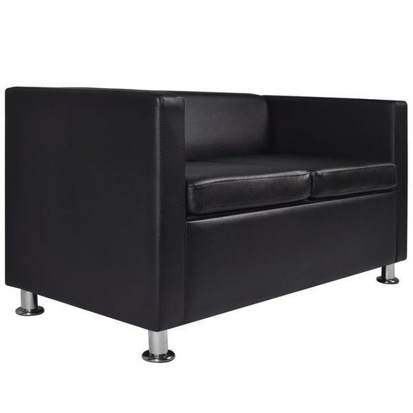 Sofa Sofy Czarne Skórzane 3 Osobowe I 2 Osobowe