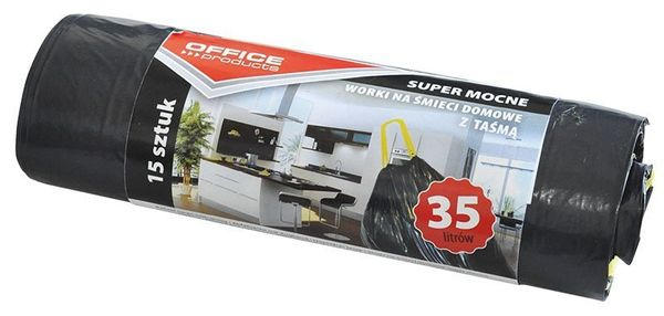 Worki Na Śmieci Domowe Z Taśmą Office Products, Super Mocne (Ldpe), 35L, 15Szt., Czarne
