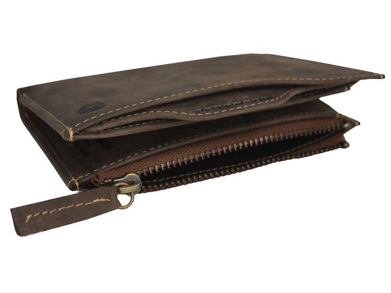 d1dd781c1ca5f Skórzany dwuczęściowy brązowy portfel męski