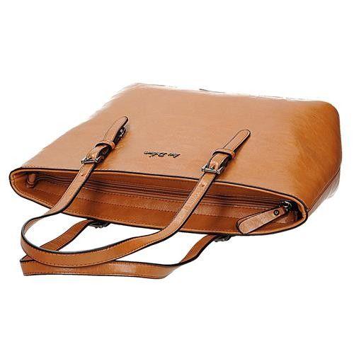 d718b290b2255 Klasyczna brązowa lekko połyskująca torebka damska shopperka w kolorze  koniakowym Ines Delarue zdjęcie 5