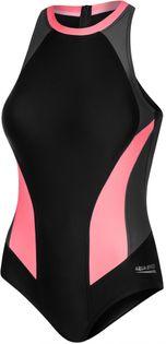 Kostium pływacki NINA Rozmiar - Stroje damskie - 38(M), Kolor-Nina - 133-czarny/szary/koralowy