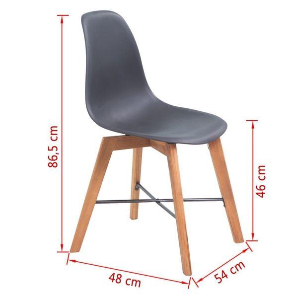 Krzesła Stołowe, 2 Szt., Czarne, Plastikowe zdjęcie 4