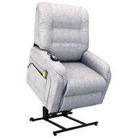 Rozkładany fotel masujący podnoszony jasnoszary tkanina VidaXL