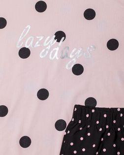 PEPCO Dziewczęca, różowo-czarna, długa piżama