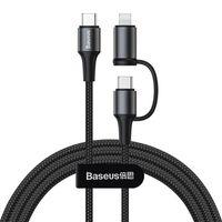 Baseus Twins kabel przewód 2w1 USB Typ C PD - USB Typ C Power Delivery (60W 20V 3A) + Lightning (5V 2A) 1m czarny (CATLYW-01)