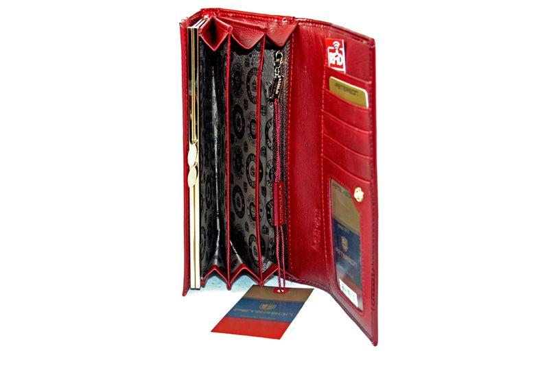 Duży czerwony portfel damski, lakierowany, pikowany, RFID, Peterson zdjęcie 7