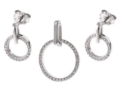 Rodowany srebrny komplet kółka circle ring białe cyrkonie srebro 925 Z0615