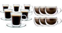 Szklanki z Podwójną Ścianką do Kawy Herbaty Lungo i Cappucino 12 sztuk