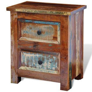 Szafka nocna z 2 szufladami, drewno odzyskane