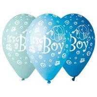 Balony na BABY SHOWER błękitne ITS A BOY 5 szt