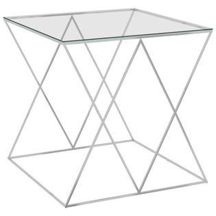 Lumarko Stolik kawowy, srebrny, 55x55x55 cm, stal nierdzewna i szkło