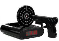 Pistolet Laserowy z Tarczą Budzik Zegarek Czarny