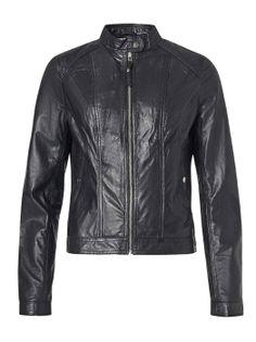 SAKI JOY 54 cm - Czarna kurtka ze skóry jagnięcej super miękka 38