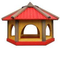 Karmnik dla ptaków Drew-Handel K50R/D 50cm Czerwony karmnik wykonany z drewna iglastego odpornego na warunki atmosferyczne