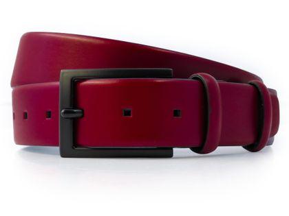 Ciemnoczerwony pasek męski z czarną klamrą  P10 Rozmiar paska - 120 cm