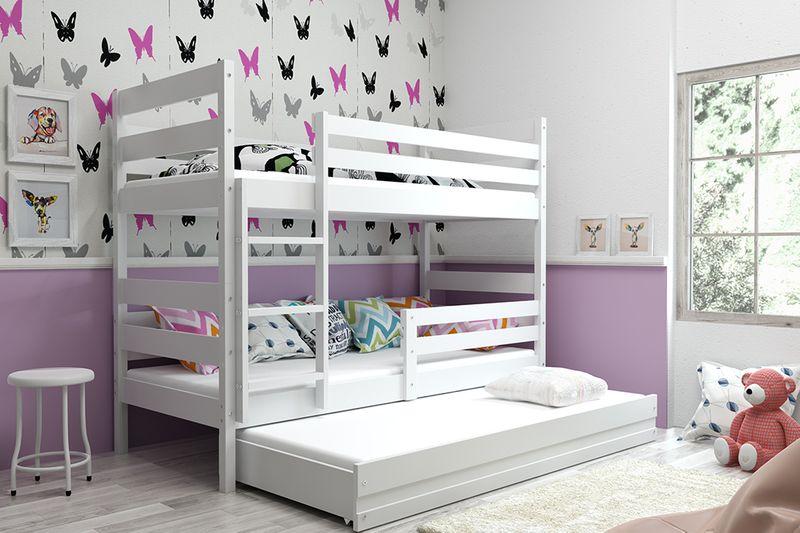 łóżko Piętrowe 3 Osobowe Eryk 200x90 Dla Dzieci Dziecięce Barierka