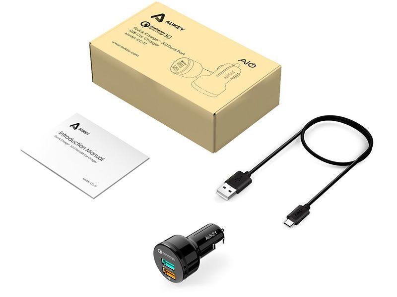 Ładowarka samochodowa AUKEY CC-T7 Quick Charge 3.0 +kabel USB zdjęcie 2