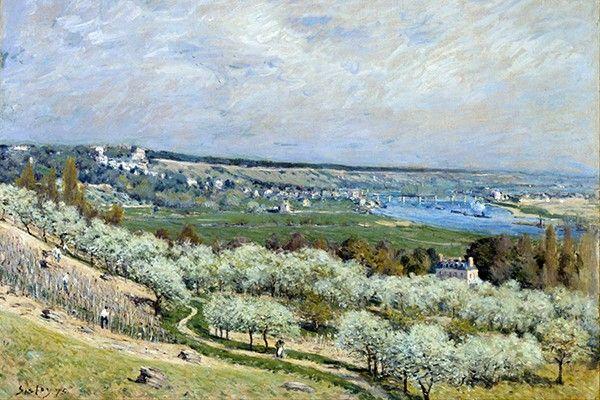 Reprodukcje obrazów The Terrace at Saint-Germain, Spring - Alfred Sisley Rozmiar - 45x30 zdjęcie 1