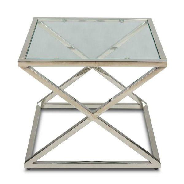 Stoliczek kawowy kwadratowy szkło 8mm chrom ława zdjęcie 1