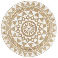 Ręcznie wykonany dywanik, juta, biały nadruk, 120 cm