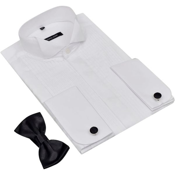d49c63d1e1a480 Koszula do smokingu z plisami, spinkami i muchą, biała rozm. M zdjęcie 3