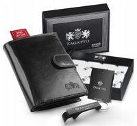 Skórzany portfel męski Zagatto pionowy z zapięciem