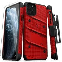Pancerne etui Zizo Bolt Cover Apple iPhone 11 Pro Max ze szkłem 9H na ekran + podstawka & uchwyt do paska (Red/Black)