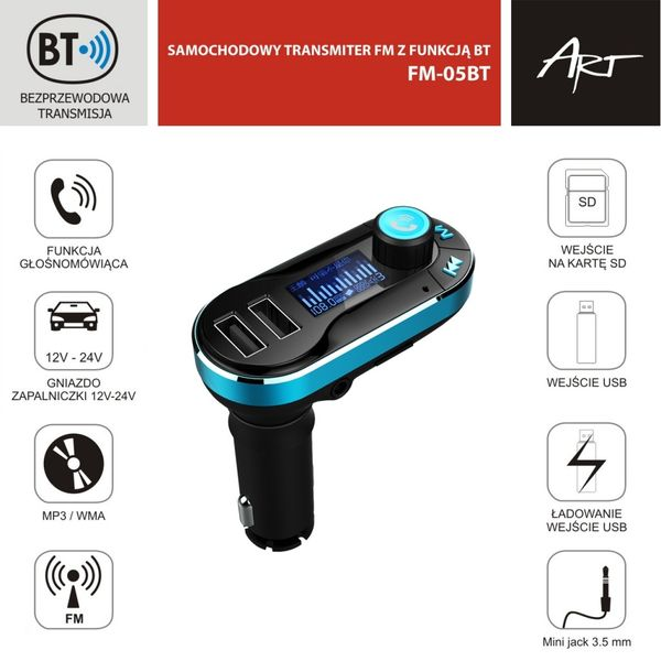 "TRANSMITER FM MP3 samoch. ekran 1.4"" z funkcją BT pilot USB/SD FM-05BT ART na Arena.pl"