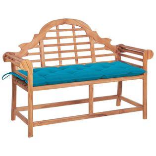 Lumarko Ławka ogrodowa z jasnoniebieską poduszką, 120 cm, drewno tekowe!