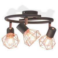 Lampa Sufitowa Z 3 Żarówkami E14, Czarno-Miedziana
