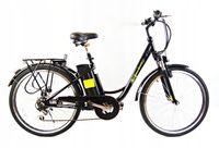 Elektryczny rower miejski 26 ŁABĘDŹ Lit-Jon 10Ah czarny