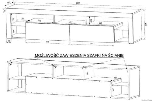 Szafka rtv, komoda  biały mat / biały połysk 200cm NOVEL na Arena.pl