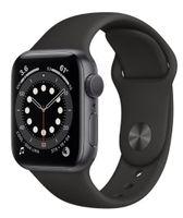 Apple Zegarek Series 6 GPS + Cellular, 44mm koperta z aluminium w kolorze gwiezdnej szarości z czarnym paskiem sportowym - Regular